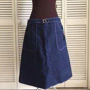 Retro Navy Blue DKNY A-line Skirt